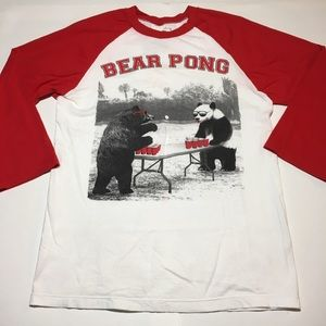 riot society Tops - Bear Pong 3/4 Sleeve Red Woman's Baseball Tee Sm