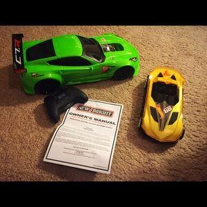 New Bright RC Corvette & Hot Wheels car
