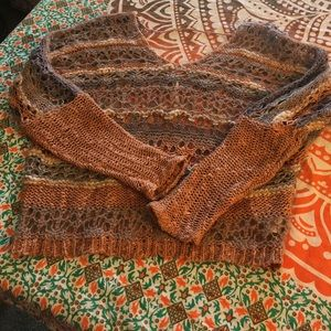 Free People funky chunky knit crocheted sweater