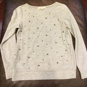 LOFT Tops - LOFT petite beaded gem sparkle shirt top
