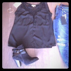 Cabrini Tops - Black chiffon blouse