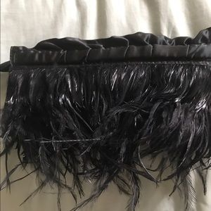 Express Handbags - Feather and satin clutch