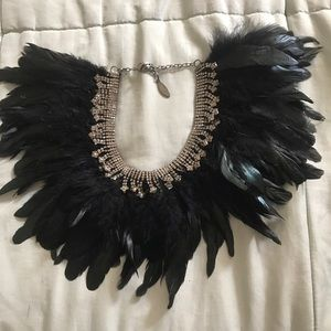 mixology NYC Jewelry - Feather and Rhinestone Bib Necklace