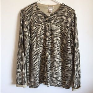 Vintage Macy's Zebra Print Knit Button Cardigan