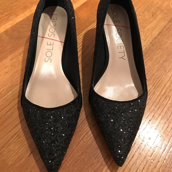 Black Glitter Kitten Heel