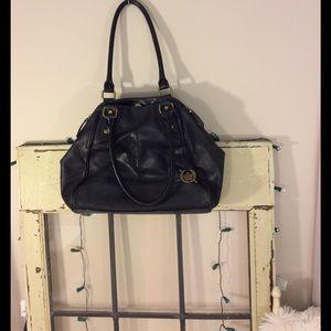 Born Handbags - Born black leather shoulder purse w/outside pocket