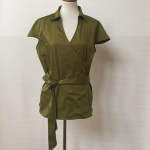 East 5th Tops - Ladies green faux wrap blouse