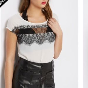 Tops - white with black lace chiffon blouse keyhole back