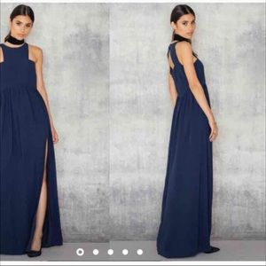 Navy blue maxi dress with cut out back