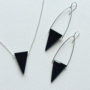 Faceted Onyx Inverted Triangle Earrings