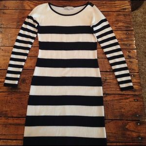 Ivory and blue striped sweater dress
