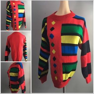 Very Bright and Colorful Fun Vintage Sweater