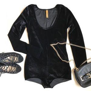 Rachel Pally Tops - • Black Velvet Bodysuit •