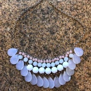 White green and pink statement necklace