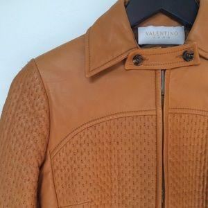 Valentino Roma Orange Caramel Moto Leather Jacket
