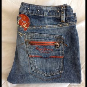 Pepe Jeans Denim - PEPE JEANS bootcut jeans with skull pattern