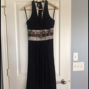 Black snakeprint halter dress
