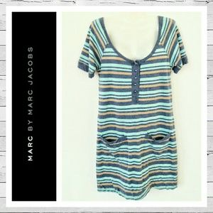 Marc by Marc Jacobs Dresses & Skirts - Marc by Marc Jacobs Metallic Stripe T-Shirt Dress
