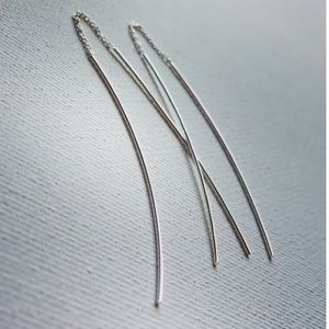 Elegant Thin Sterling Silver Threader Earrings