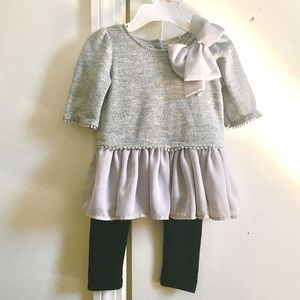 Camilla Other - Shimmering silver top with bow and pants, 24 mos