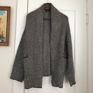 Chevron, slouchy oversized Zara cardigan w/wool