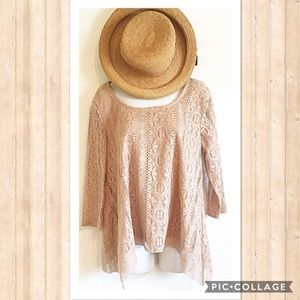Absolutely Famous Tops - Neutral Lace Top