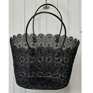 Handbags - Black Coated Lace Tote