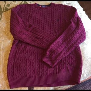 Chaps Other - Men's Chaps 100% cotton maroon cable sweater