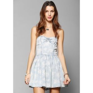 Urban Outfitters Dresses & Skirts - Light blue denim sunflower sweetheart dress