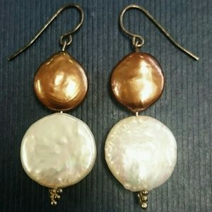 Jewelry - Bronze White Coin Pearl Sterling Silver Earrings