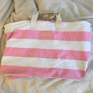 Victoria's Secret Pink and white stripe tote bag