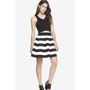 NWt Express black and white stripe circle skirt