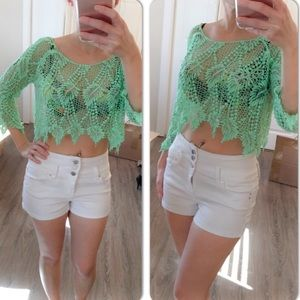 Tops - Mint green quarter sleeve crochet crop top