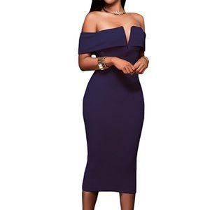 Sexy V Neck Off The Shoulder Evening Midi Dress