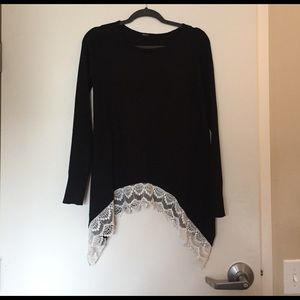 Poof! Sweaters - Poof lace trim sweater!!! NWOT