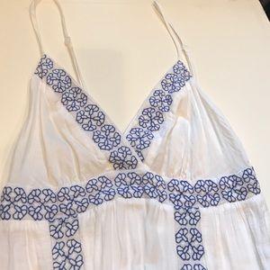 Ella Moss wht/blue embroidered longmaxi dress L 💙