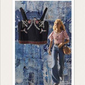 Elle Sasoon Dark Denim Embroidered Beaded Crop Top