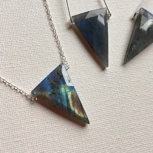 Veronica & Harold Jewelry - Faceted Labradorite Inverted Triangle Necklace