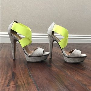 Neon yellow and off white Platforms 