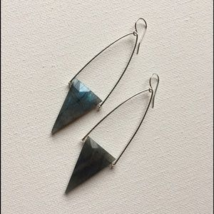 Veronica & Harold Jewelry - Faceted Labradorite Inverted Triangle Earrings