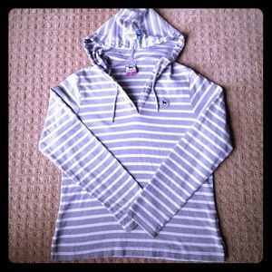 Tops - The Black Dog Brand Striped Hoodie Small