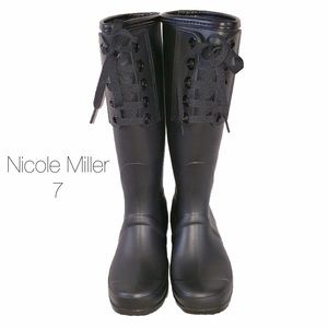 Nicole Miller Shoes - Nicole Miller Matte Black Tie Up Rain Boots NWOT
