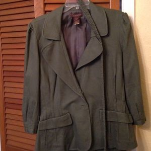 Chadwick's 2 Piece Pant Suit Olive Green