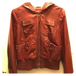 Collection B Jackets & Blazers - Red leather jacket with hood