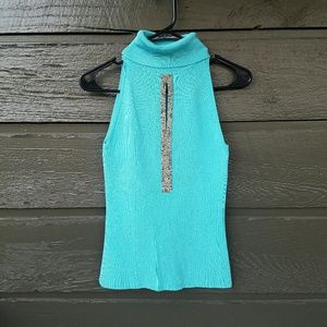 Cache Tops - Cache Turquoise Embellished High Neck Top