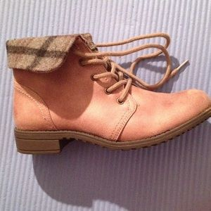 Shoes - Dark tan ankle boots with fold over