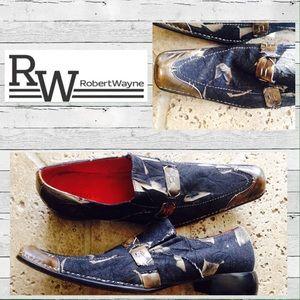 Robert Wayne Other - Men's Robert Wayne Denim & Tan Slip-on Shoes 10