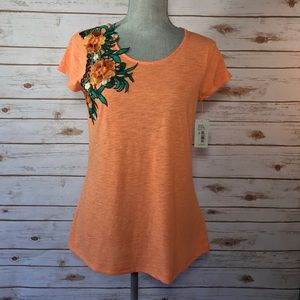 Nurture  Tops - {Nurture} Orange Floral Applique Right Sleeve Top
