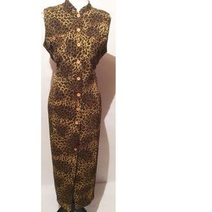 Vintage Cheetah Print Maxi Dress Size 12
