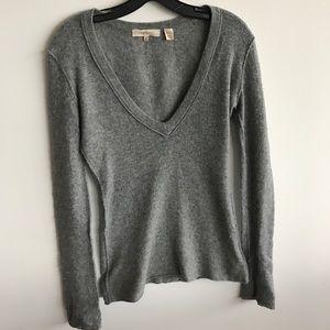 Inhabit Ribbed Gray Cashmere V Neck Sweater